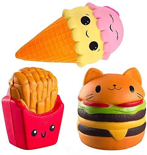 ZhengYue 3 Stück Kawaii Squishy Spielzeug - Eiscreme Hamburger Fries Squeeze Stress Squishies Langsam Dekompression Creme Duftenden Geschenk für Kinder Erwachsene Mädchen Jungen