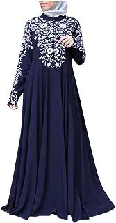 SSUPLYMY Frauen Vintage Kleid Ethnische Kleid Kleid Robe Frauen Langes Kleid Mit Blumenmuster Muslimische Vintage Langarm Kleid Frauen Abendkleid Kaftan Robe Maxikleid Kleidung