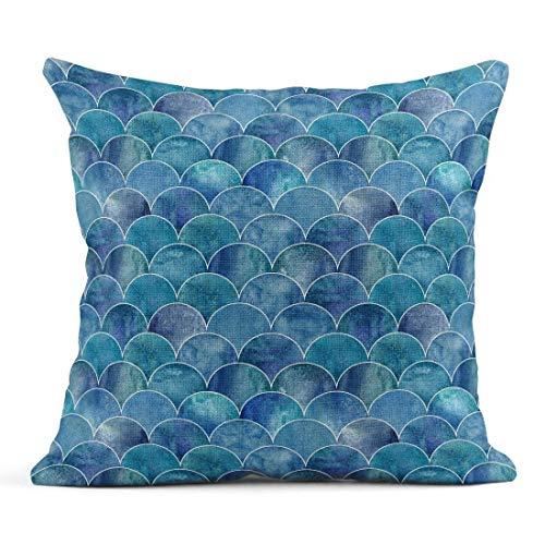 Kinhevao Cojín Escama de Pescado Ocean Wave Acuarela Japonesa Azul Turquesa Azul Turquesa Acuarela Cojín de Lino con Forma geométrica Almohada Decorativa para el hogar
