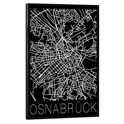 artboxONE Poster mit schwarzem Rahmen 30x20 cm Städte Retro Map Osnabrück Black - Bild Retro map osnabrück