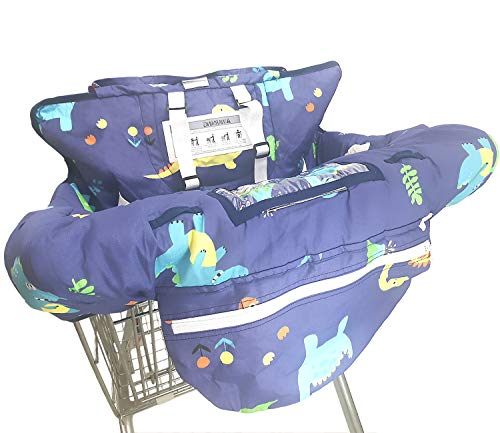 Shopping Cart Cover for Baby- 2-in-1 - Foldable Portable Seat with Bag for Infant to Toddler - Compatible with Grocery Cart Seat and High Chair - Includes Free Carry Bag (Dinosaur)
