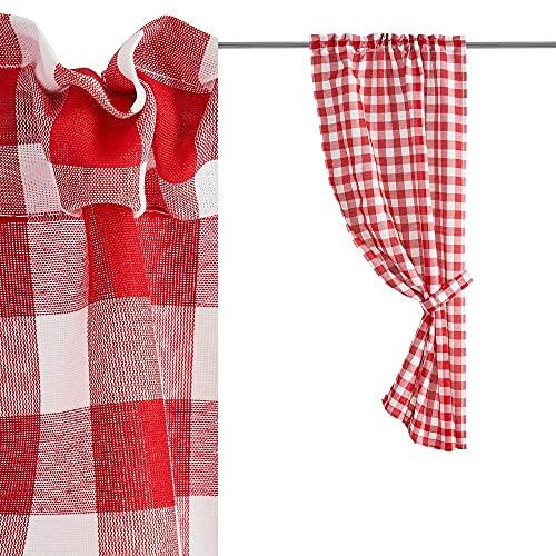Cortina de Cuadro Vichy roja y Blanca de poliéster de 70x125 cm - LOLAhome