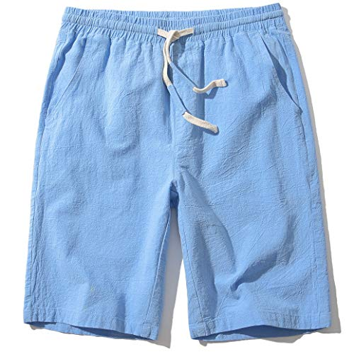 SIR7 Men's Linen Casual Classic Fit 11 Inch Inseam Elastic Waist Shorts with Drawstring Blue Large