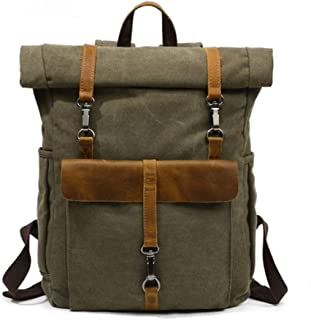 Bearky Bag Green Khaki Man Leather Canvas Rolltop Backpack Large-Capacity Fashion Multi-Function Leisure Travel Bag (Color : Army Green, Size : 15.6inches)