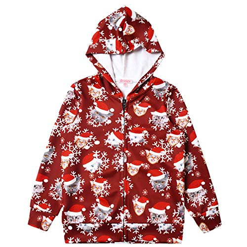 QPANCY Christmas Hoodie for Girls Zip Up Jacket Kids Santa Claus Clothes Outfits 4t 5t