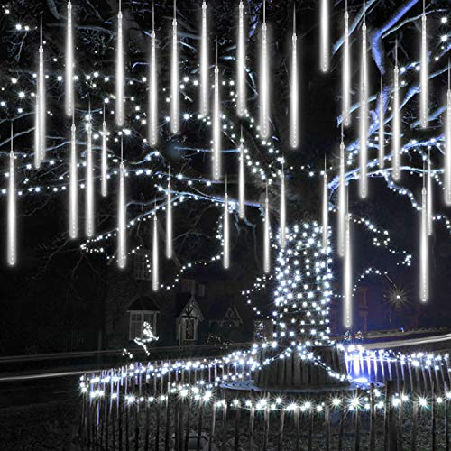 INAROCK Christmas Meteor Shower Lights 15.2 Inches 16 Tubes 640LEDs Snowfall Lights Connectable, Waterproof Hanging Falling Rain Lights for Tree Bushes Holiday Party Christmas Decoration, White