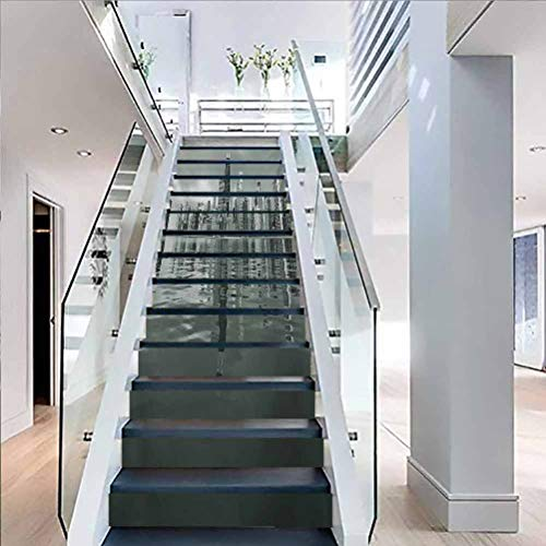 Stairs Self Adhesive Decoration Wall Sticker, for Stair Riser Decals Home Decor, Chicago Skyline Nostalgic Weathered Lake Michigan Harbor Co, W39.3 x H7.08 Inch x13PCS
