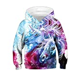 Ainuno Unicorn Hoodie for Girls 3D Cute Sweatshirt Kids Size 8 9 10 8-10 Years Old,Couple Unicorn M