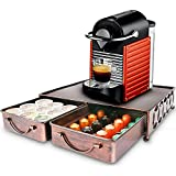 Coffee Pod Holder with 2pcs Multifunctional Storage Drawer Organizer for Tea bags, K-Cup Pods, Nespresso, Dolce Gusto, CBTL, Verismo for holding 60 Coffee Pods-Retro Brushed Bronze