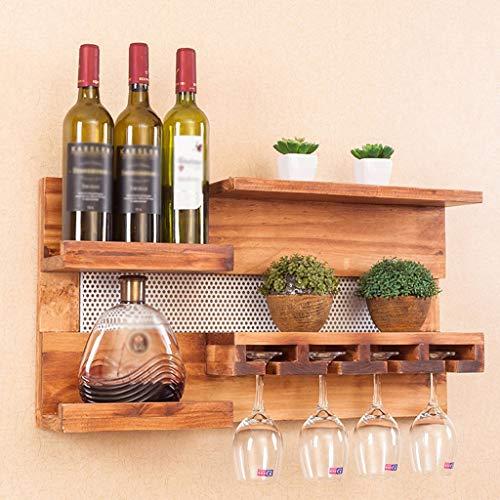 Cremagliera del vino-HJL Wine Rack- Stoccaggio A Parete per Uso Domestico, Portabottiglie in Legno Massello, Vetro A Sospensione Ad Alta capacità