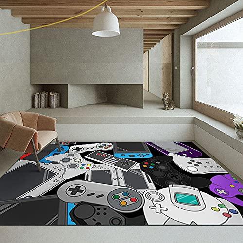 SunYe Alfombra De Consola De Videojuegos 3D, Alfombra De Entrada Engrosada De Doble Capa, Felpudo Antideslizante Y Duradero, Tapete para La Cabecera del Dormitorio, Alfombra para Mascotas Lavable A M