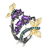 Qitian Birthstone Rings for Girls Womens Amethyst Original Rings Birthday Christmas Jewelry Gifts Adjustable Size Open Rings for Girlfriend Wife(925 Sterling Silver Electroplating Black