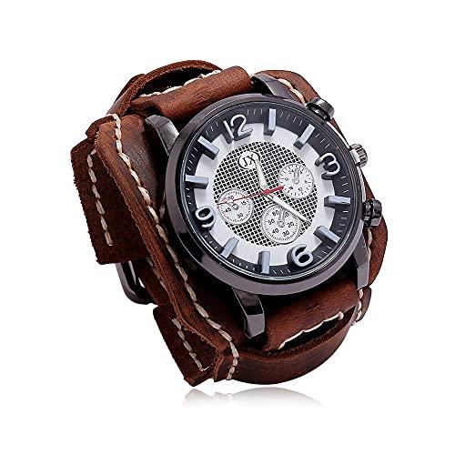 Reloj De Pulsera Vintage Reloj De Pulsera De Cuero Retro Steampunk con Esfera Grande Reloj De Cuarzo De Banda Ancha Ajustable De Moda para Hombre para Uso Diario,Marrón
