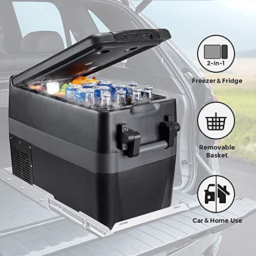 JoyTutus Portable Freezer, 42 Quart (40L) Portable Refrigerator, 15Min Fast Cooling RV Fridge(-4℉~50℉) Car Refrigerator Electric Car Cooler for Truck, Boating, Camping, Road Travel and Home-12/24V DC
