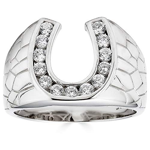 Real Solid 925 Sterling Silver - Lucky Horseshoe Ring - Mens Horse Shoe Ring Iced Flooded Out (7)