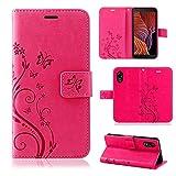 betterfon Samsung Galaxy Xcover 5 Hülle - Handyhülle Samsung XCover 5 Klapphülle Schutzhülle mit [Standfunktion] [Kartenfächern] für Galaxy Xcover 5 Blume Pink