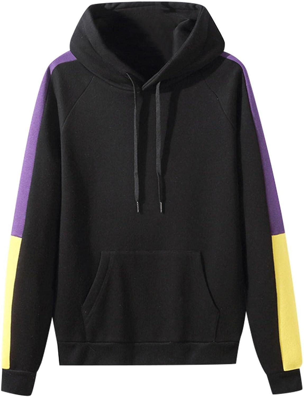 Hoodies for Men Cozy BlockColor Pullover Fashion Mens Athletic Hoodies Long Sleeve Drawstring Sports Sweatshirt