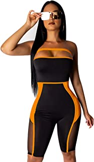 Ekaliy Women Sexy Mesh Short Jumpsuits - Bodycon Rompers Sleeveless Club Outfits