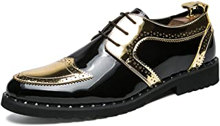 Calzado de ala de negocios casual Oxfords de tacón plano de moda para hombre con cordones de estilo británico zapatos Wingtip Calzado de ala de desgaste formal ( Color : Gold , tamaño : 25.5 )