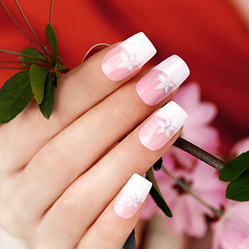 ArtPlus Faux Ongles 24pcs x 2 (2-Pack) Pink with Petal Elegant Touch False Nails Premium Pack Full Cover French Manicure Long Length with Glue Fake Nails Art 2 Boxes in 1