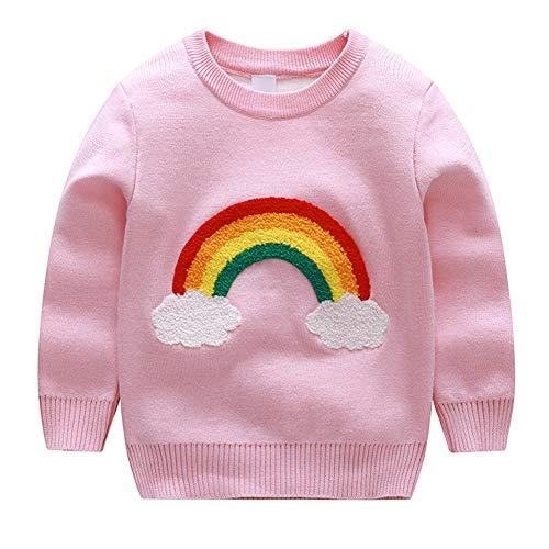 Bleubell Girls Knitted Sweater Rainbow Sweatershirt Pink 3T