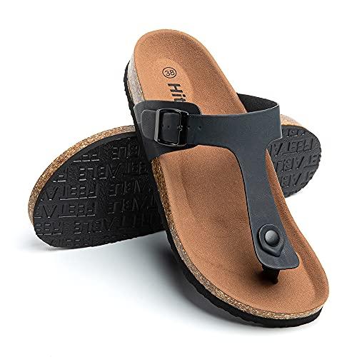 Sandali Donna Estivi Ciabatte Fibbia Infradito Pantofole Punta Aperta Supporto Arco Moda Eleganti Comode Nero Taglia 39 EU