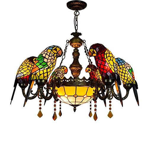 JZDHAOANHE KCYHAY Luz De Araña De Tiffany, Loro Manchado Accesorio De Vidrio Colgante Iluminación Led Colgante Lámpara para Sala De Estar Dormitorio Hotel Bar,6+1(e27 x8)