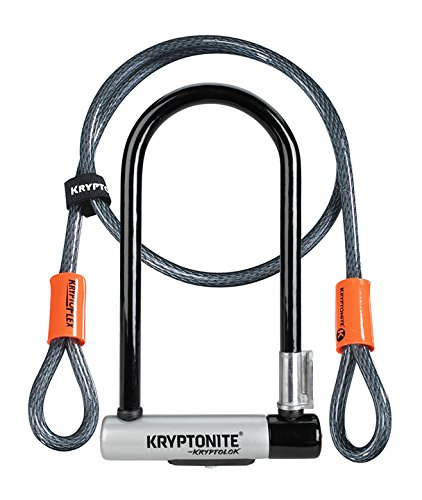 Kryptonite (001966/001072 ANTIRROBO U KRYPTOLOK Standard w/Flex Cable Y FLEXFRAME Bracket (102x229) Candado, Calidad, Talla Única