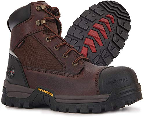 """ROCKROOSTER Work Boots for Men, 6"""" Composite Toe Mens Work Boots, Waterproof Non-Slip Puncture Resistant Anti-Fatigue Safety EH Construction Work Shoes / JYP872, 9.5"""