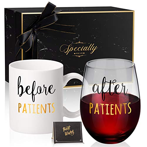 Before Patients, After Patients 11 oz Coffee Mug and 18 oz Stemless Wine Glass Set Gifts Idea for Nurses, Doctors, Hygienists, Assistants, Physician, Dentists Unique Birthday Graduation Gifts Idea