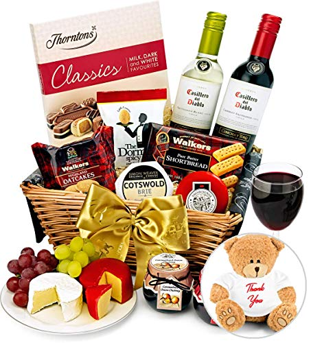 Thank You Trafalgar Hamper With Red & White Wine
