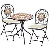 BAKAJI Set Tavolo Tavolino 60 x 70 cm + 2 Sedie Pieghevoli con Decorazione Mosaico Arredo Esterno...