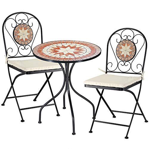 BAKAJI Set Tavolo Tavolino 60 x 70 cm + 2 Sedie Pieghevoli con Decorazione Mosaico Arredo Esterno Giardino Terrazzo Struttura in Metallo Colore Nero Decoro in Terracotta con Cuscino