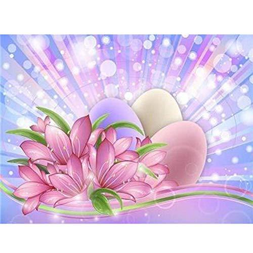 DIY 5D Kit de pintura de diamante por número Huevo de mascota flor fluorescente cuadro de punto de cruz, para decoración del hogar, decoración de pared o regalo 30X40cm(Sin marco)