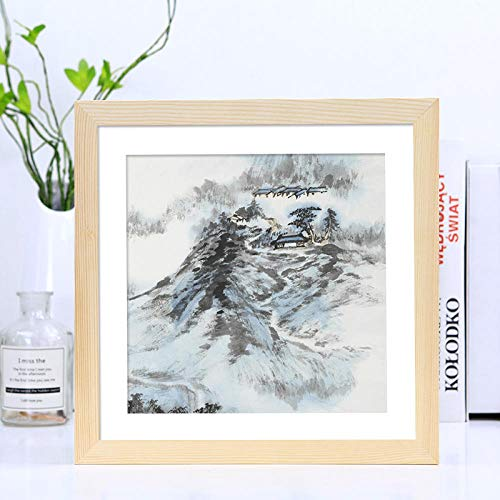 XQSB fotolijst voor foto's en foto's, vierkant, van massief hout, kleur van het hout, afmetingen foto 33 × 33 cm
