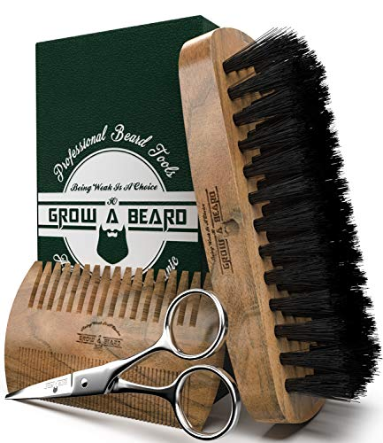 Beard Brush and Comb Set for Men – Friendly Gift Box And Cotton Bag – Best Bamboo Beard Kit for Home and Travel – Great for Dry or Wet Beards – Adds Shine and Softness to Your Healthy and Cool Beard.