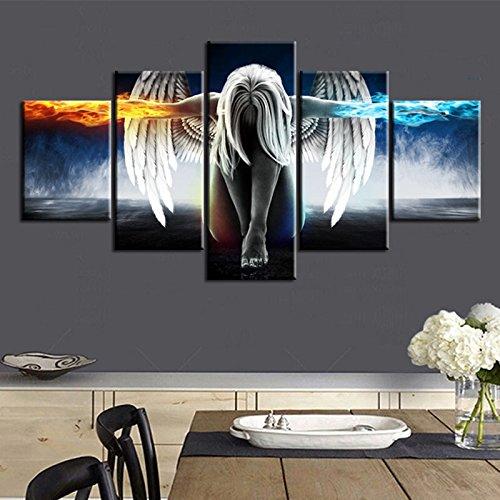 HQATPR Abstract Canvas Muur ArtOil Schilderen Canvas prints Artwork Schilderijen Olieverfschilderij Vijf Stukken Schilderen Engel Vleugels No Frame 10x15 10x20 10x25cm