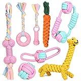 Puppy Chew Toys, 8pcs Juego de Juguete para la dentición del Perro con Bolas y Cuerdas de algodón Regalo Interactivo de Juguetes para Mascotas Rosa para Cachorros pequeños, Perros medianos y Grandes