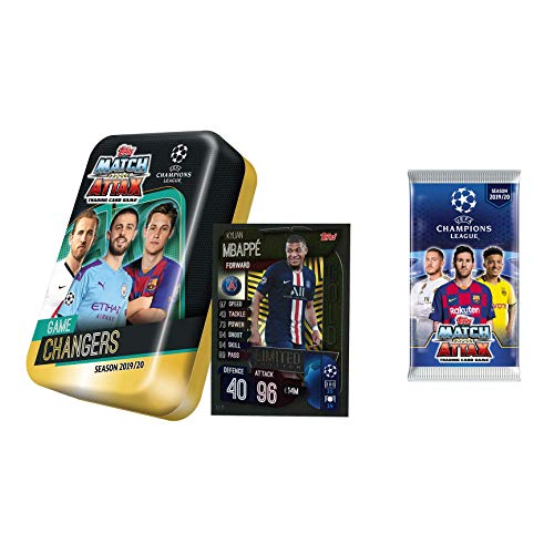 Champions League 2019-20 Topps Match Attax Cards - Mega Tin (60 Cards + Limited Edition Gold Card)+ Bonus 5 Card Promo Pack (Wonderkids) Includes Pulisic Card!