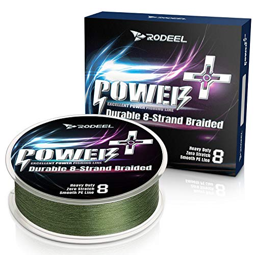 Rodeel 300M Extreme Braided Fishing Line(0.16mm-0.40mm) Ultra Strong 8 Strands PE Line(12LB-60LB) (Green 328Yds/300m, 12lb / 0.16 mm)