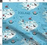 Island, Insel, Landkarte, Wikinger, Skandinavisch Stoffe -