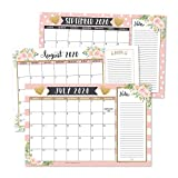 Gold Pink Chalk 2020-2021 Large Monthly Desk or Wall Calendar Planner, Floral Giant Planning Blotter Pad, 18 Month Academic Desktop, Hanging 2-Year Date Notepad Teacher, Family Business Office 11x17'