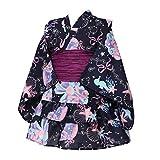 [アリサナ]arisana 浴衣 こども 女の子 セパレート 子供 (上衣・スカート・兵児帯の3点セット) I.貝がら柄ネイビー 120cm