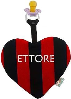 Zigozago - Doudou per neonati a forma di cuore a righe rossoe nere con portaciuccio