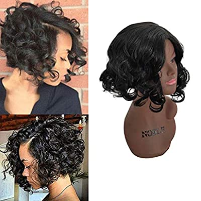 Xisheep??Shipped from the United State Fashion Women Brazilian Short Straight Bobo Wig Front Hair Side-Parted Wigs - Wig (Black)