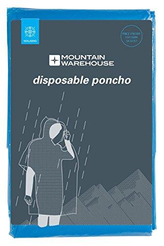 Mountain Warehouse Poncho Unisexe jetable - de Poche, Manteau imperméable à l'eau léger, Pratique - idéal pour Le Camping, Les Festivals Bleu Taille Unique