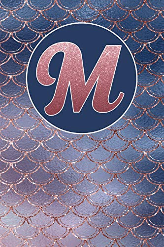 M: Letter M Journal, Rose Gold and Blue Sparkling Mermaid Scales, Personalized Notebook Monogram Initial, 6 x 9