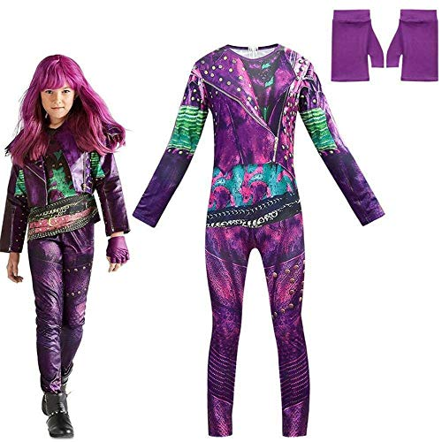 Halloween Fancy Dress for Girls Descendant 3 Mal Costume Cosplay Jumpsuits Gloves Party Outfit Set (Purple,6-7 Years)