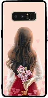 Samsung Note 8 Case Cover Girl Hiding Flowers, Moreau Laurent Premium Phone Covers & Cases Design
