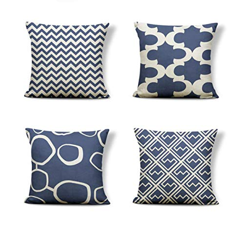 Emvency Set of 4 Pillow Covers Decorative Cushion 18' x 18' Geometric Stripe Dots Shakes Navy Blue with Hidden Zipper Polyester Home for Couch Bed